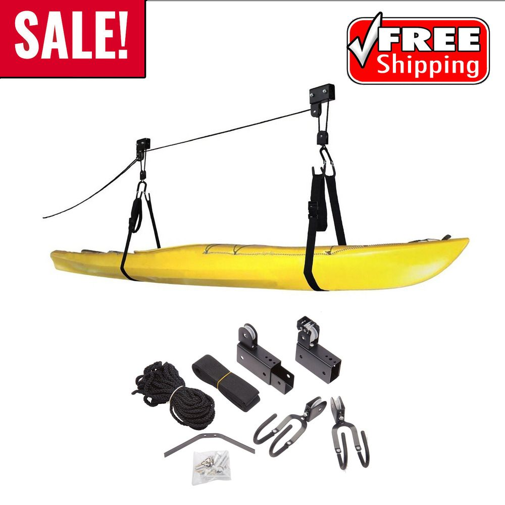 Kayak Hoist Lift Garage Storage Canoe 125lbs Pulley Kit Ceiling