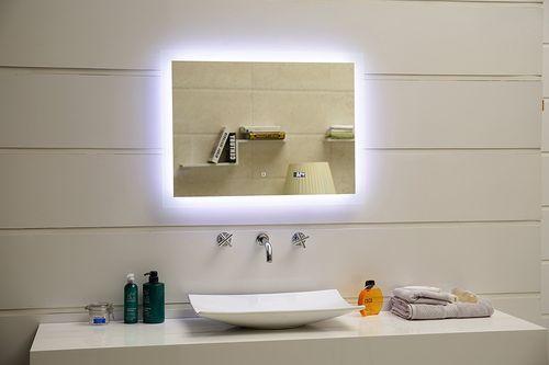 LED Lichtspiegel London, Dimmbar, Digitaluhr,Touch-Schalter, Größe - badezimmerspiegel mit led