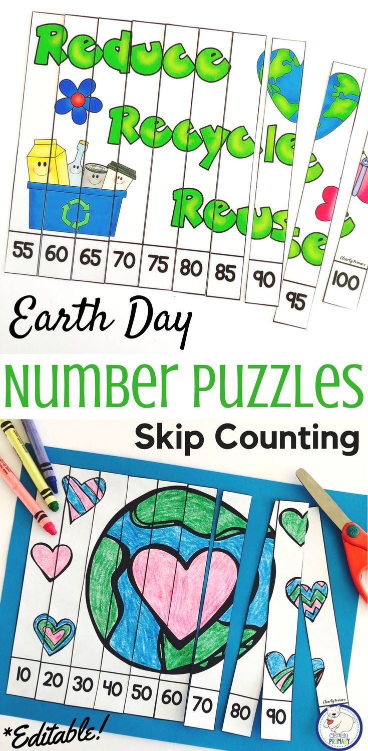 Skip Counting: Earth Day Number Puzzles | Number puzzles, Number and ...