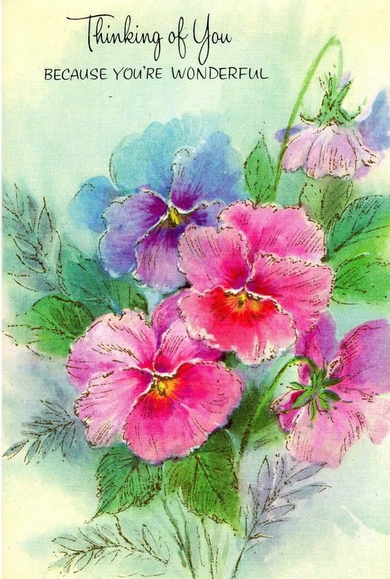 Thinking Of You Card Vintage Flowers Spring Pink Pansy 1960 S Nos Thinking Of You Hugs And Kisses Quotes Thinking Of You Quotes
