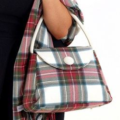 classic shape bag, wool tartan with leather handle..