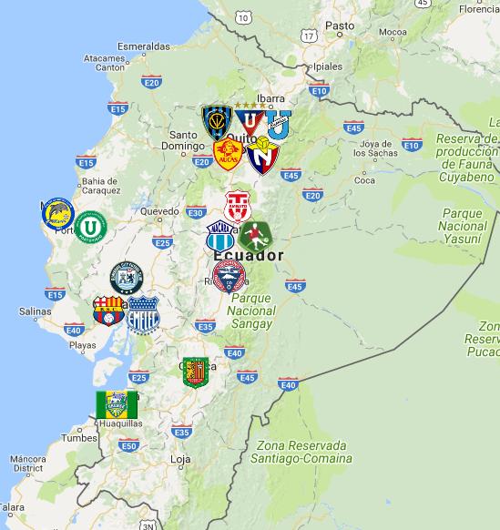 2020 Ecuadorian Serie A Map In 2020 Map Ecuadorian South America
