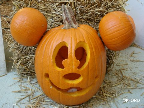 Mickey. The carving seems easy enough -- the pumpkins attached as ...