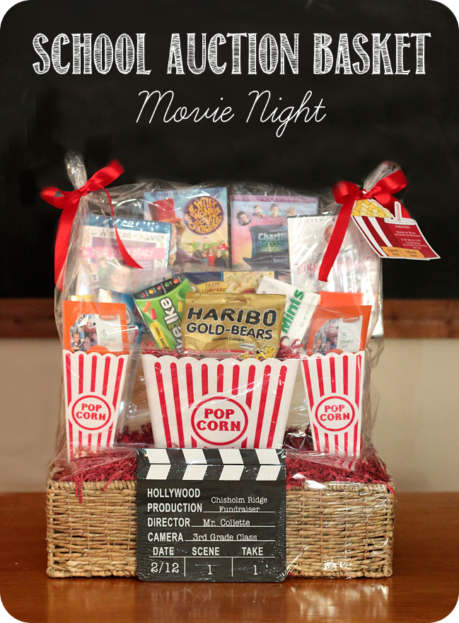 school fundraiser auction basket movie night sources listed on