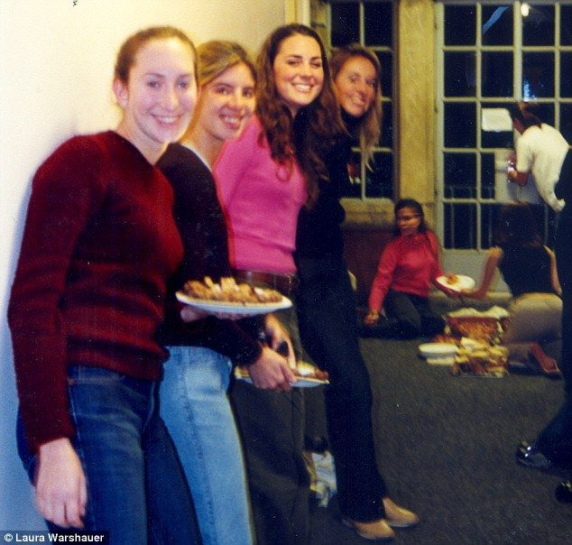 Duchess Catherine with friends at her halls of residence in St. Andrews.