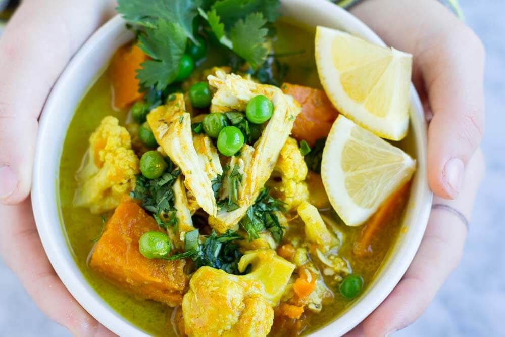 Slow Cooker Coconut Curry with Chicken || www.savorylotus.com