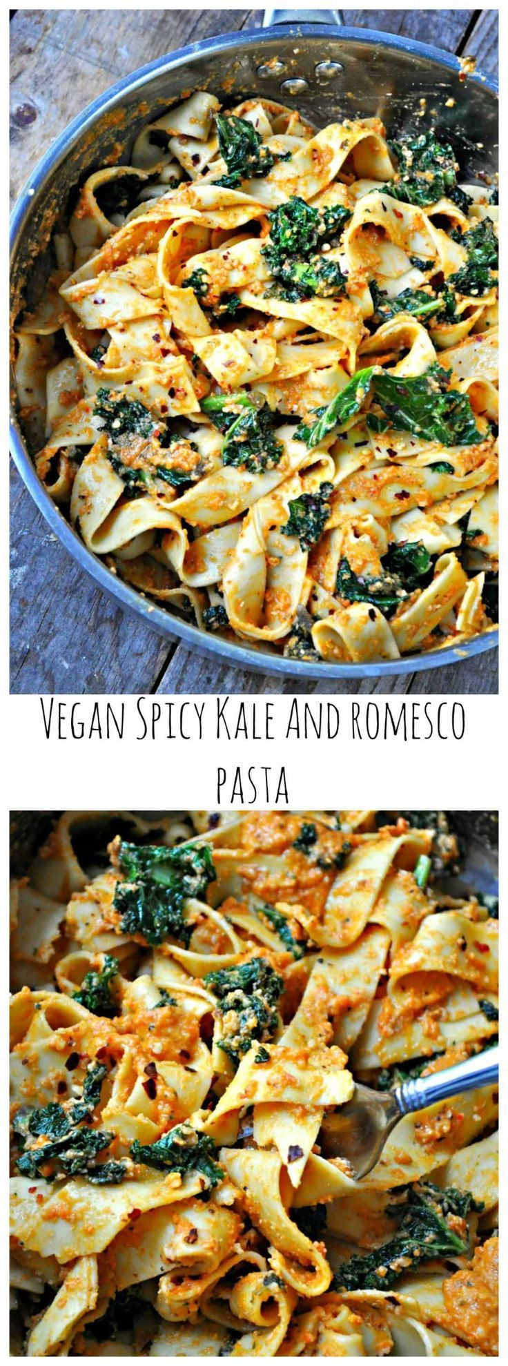 Photo of Vegan Spicy Kale and Romesco Pasta – Rabbit and Wolves #beverages Sauteed spicy …