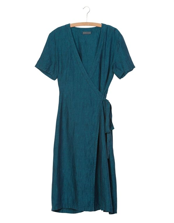 wrap dress in linen from nygårdsanna