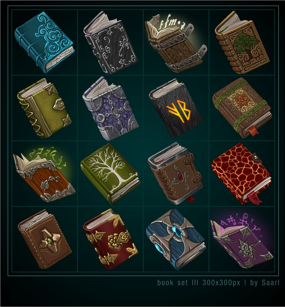 Book Icons 3 by Saarl spellbook spell tome diary journal magic item equipment weapon game user interface gui ui | Create your own roleplaying game material w/ RPG Bard: www.rpgbard.com | Writing inspiration for Dungeons and Dragons DND D&D Pathfinder PFRPG Warhammer 40k Star Wars Shadowrun Call of Cthulhu Lord of the Rings LoTR + d20 fantasy science fiction scifi horror design | Not Trusty Sword art: click artwork for source