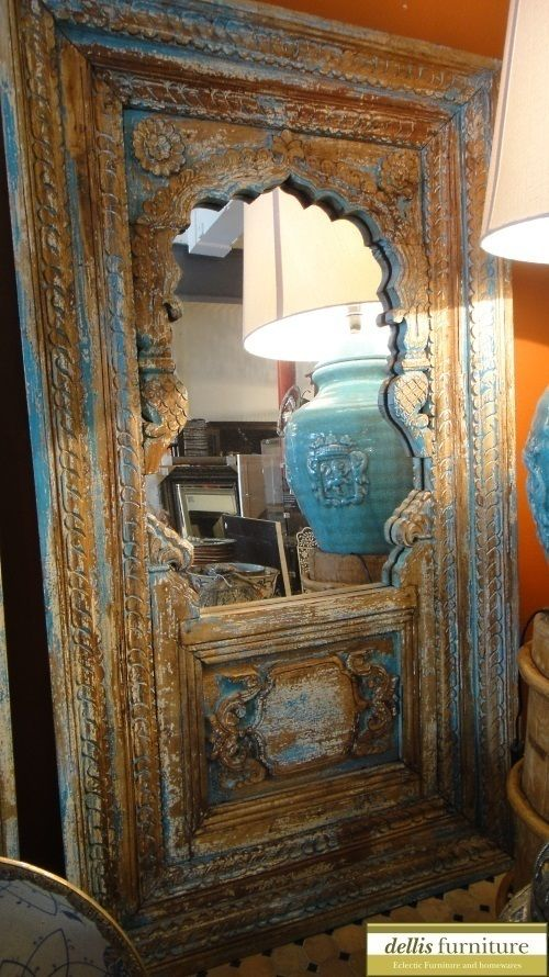 Special Distressed Blue Hand Carved Solid Timber Indian Mirror | EBay $1595