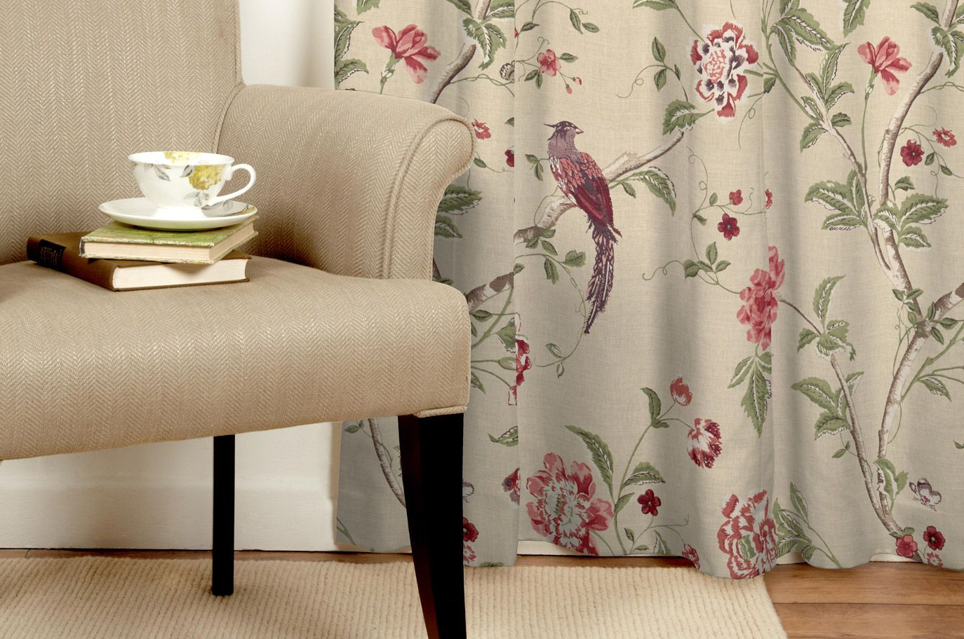 Summer Palace Cranberry Curtains Made To Order   Laura Ashley