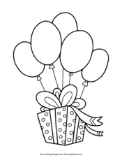 birthday present with balloons coloring page • free