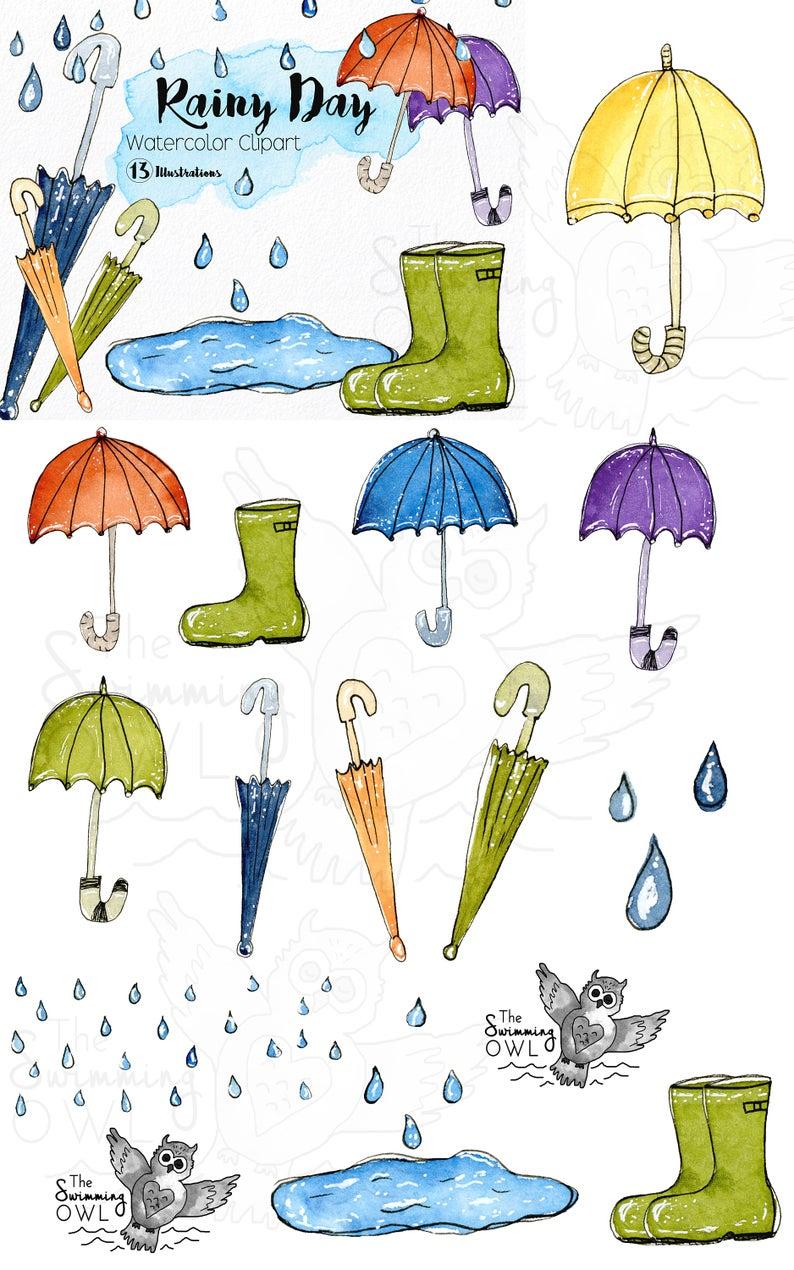Rainy Day Clipart Umbrella Clipart Watercolor Clipart Rainboots Umbrellas Rain Drops Rain Weather Clipart Rain Clipart In 2021 Hand Illustration Clip Art Kindergarten Artwork