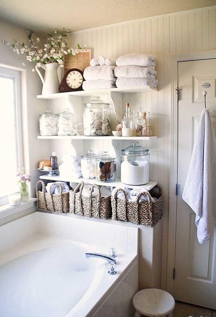 Astuce rangement salle de bain- 15 idées modernes, rétro ou champêtre chic