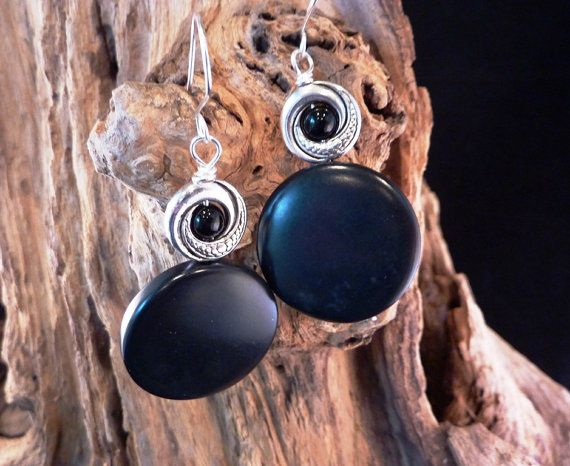 Black Tagua and Silver Earrings by carolesart on Etsy, $40.00