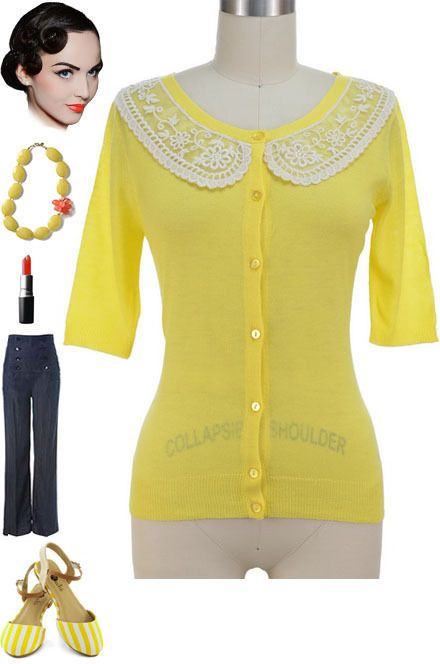Vintage Style Lt.Weight YELLOW PINUP Cardigan with Girlie LACE PETER PAN COLLAR #PrivateManufacturer #Cardigan