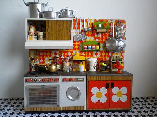 Vintage Toy Kitchen orange tiles 1 Brand Joustra by Naralna, via