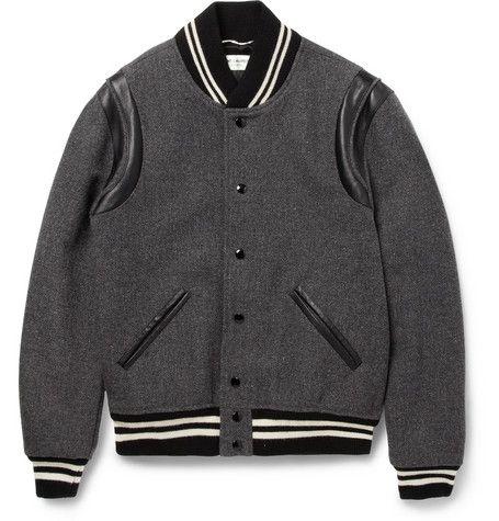 b3b1763f6 Saint Laurent Leather-Trimmed Wool-Blend Varsity Jacket | MR PORTER ...