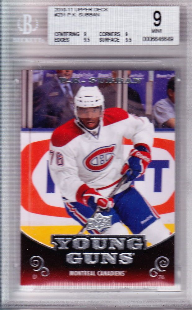 Pk Subban Canadiens 2010 Ud Young Guns Rookie Card Graded 9