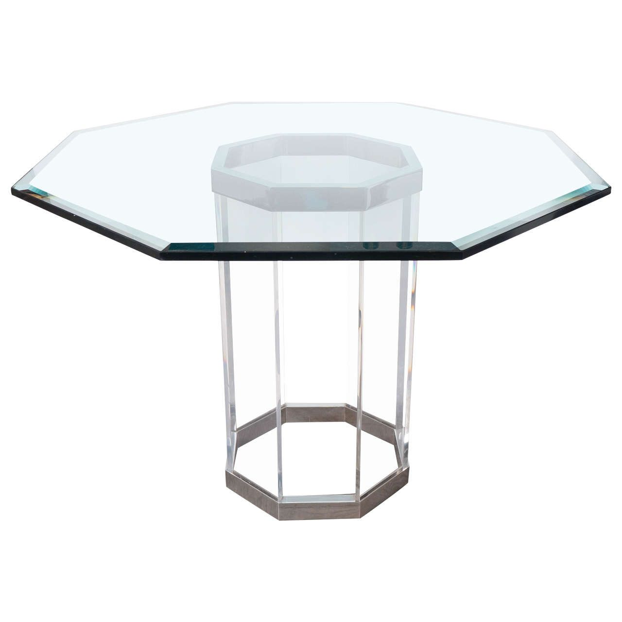 Luxe Mid Century Modernist Octagonal Dining Table In Chrome