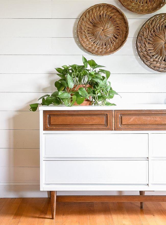 A Beautiful Bright And Modern Bassett Dresser Makeover | High Contrast,  Dresser And DIY Furniture