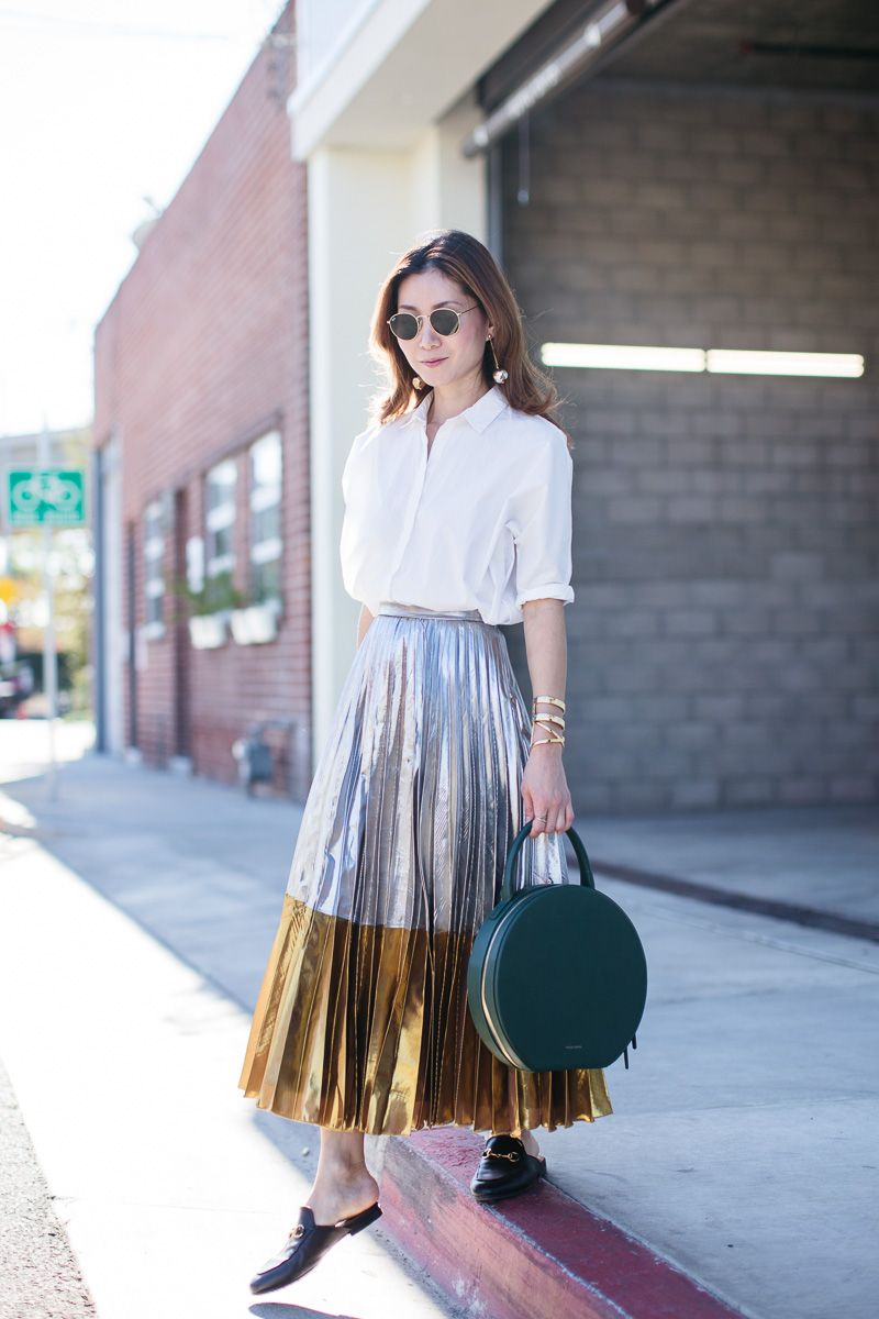 Stylewich by Elizabeth Lee, Fashion Blogger, Outfit Ideas, Style Inspiration, Fall Fashion, Metallic Skirt, Mansur Gavriel Circle Bag, Gucci Princetown Loafer Mules