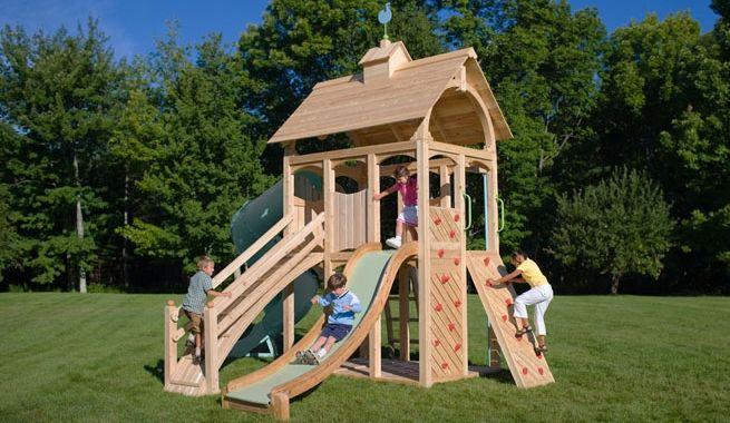 Los columpios de madera m s completos para exterior - Columpio madera jardin ...