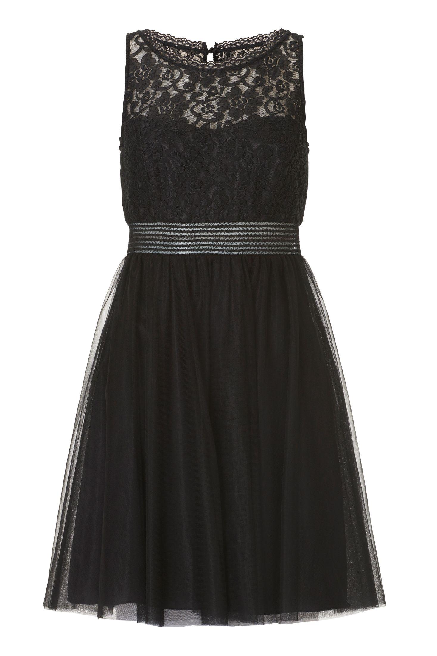 kurzes kleid mit transparenter taille schwarz vera mont