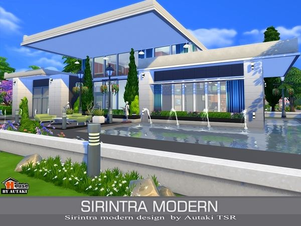 Sirintra modern design house by autaki at tsr via sims 4 for Sims 4 modern house plans