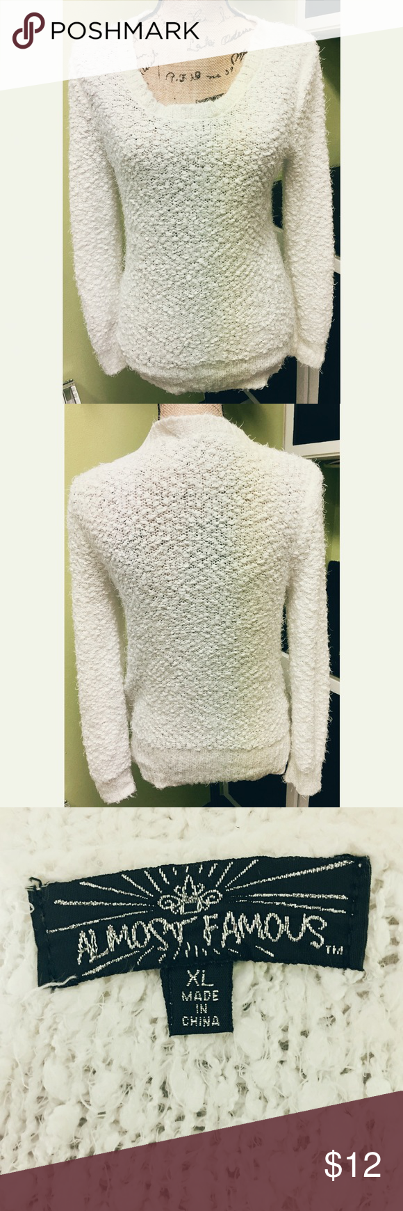 Almost Famous Fuzzy White Sweater XL Soft & Fuzzy Almost Famous White Popcorn Sweater size XL in good condition. Almost Famous Sweaters Crew & Scoop Necks