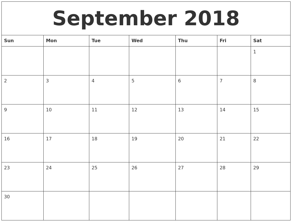 september 2018 cute printable calendar | calendar september 2018