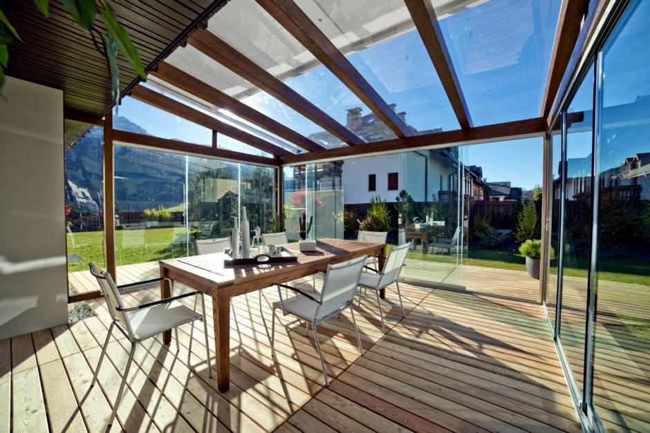 Glass Veranda And Wooden Beams In 2019 Glass Roof