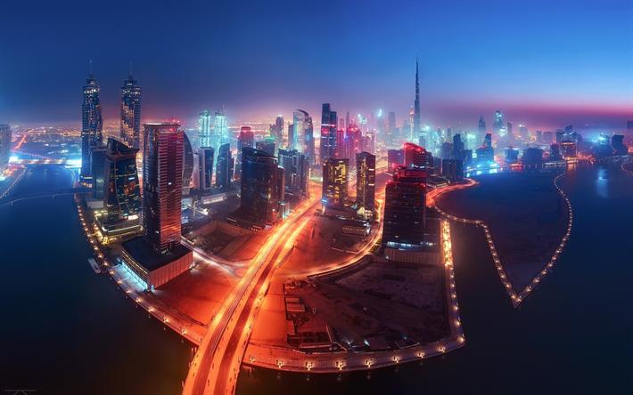 Download wallpapers Dubai, night, fog, city lights