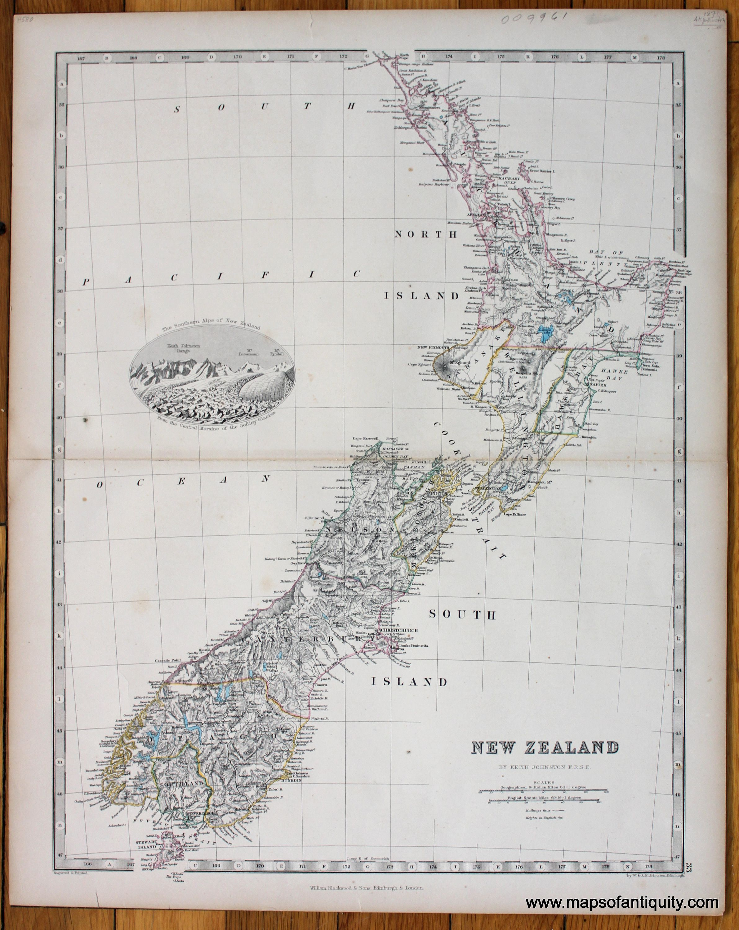 Southern Alps New Zealand Map.Antique C 1871 Hand Colored Map Of New Zealand With A Vignette Of