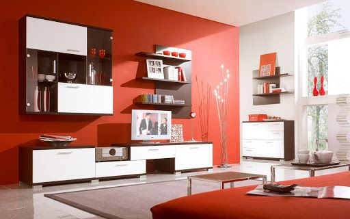 Red Living Room Interior Design: Modern Red Scheme Living Room Design With  White Brown Color Wall And Entertainment Units