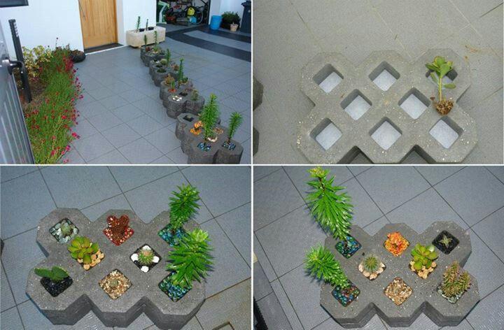 Ejemplos de ladrillos que se convierten en maceteros for Ejemplos de jardines