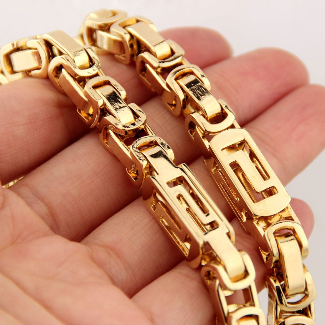 MENDINO Mens Jewellery Byzantine Box Width 5mm-8mm Link Chain Gold 316L Stainless Steel Necklace
