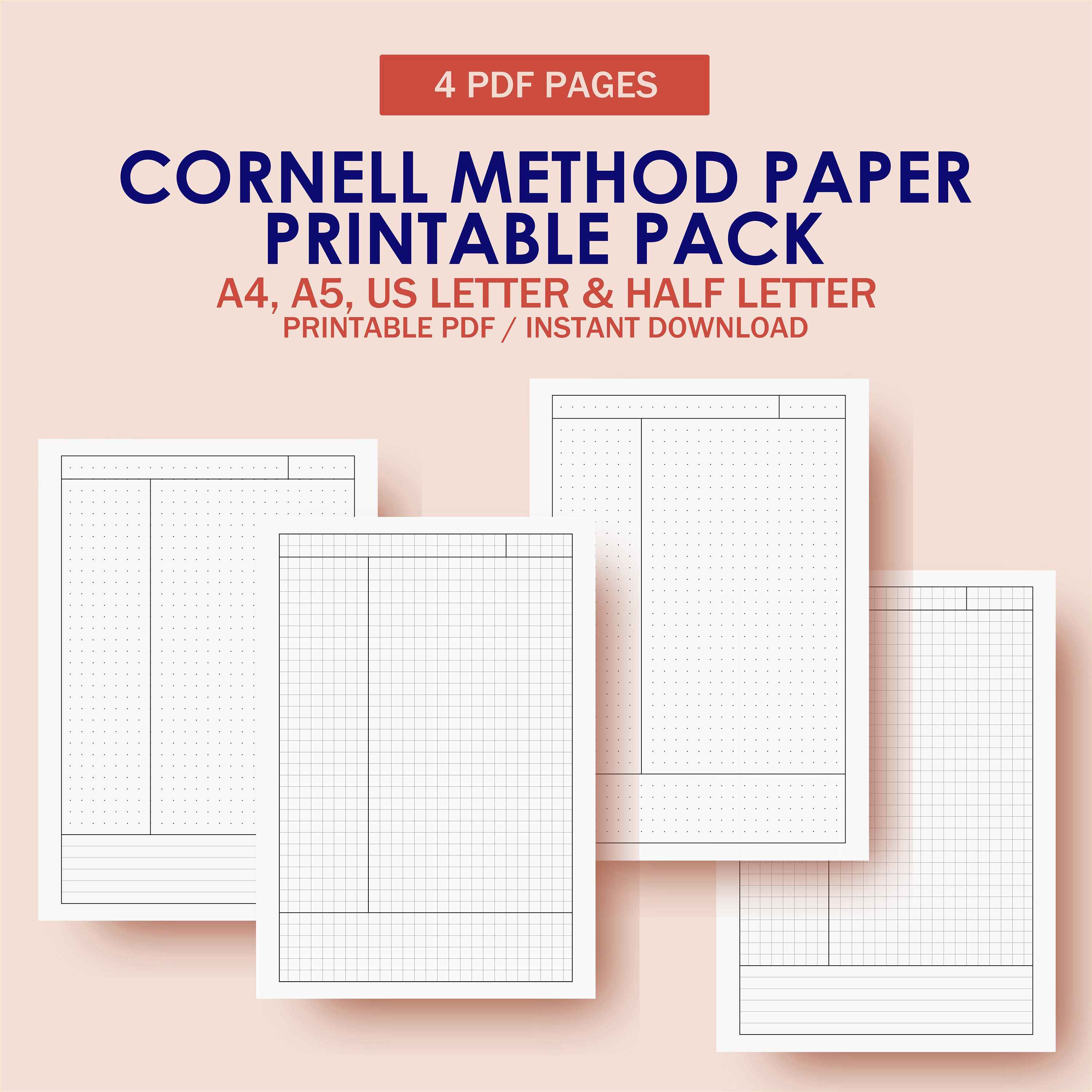 Cornell Note Cornell Method Paper Pack Cornell Notes Paper