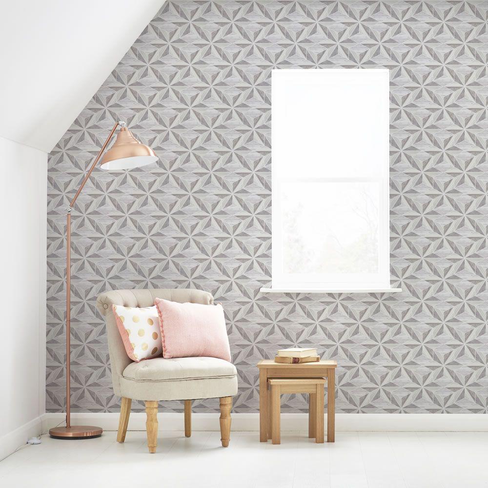 Fresco Scandi Geo Grey Wallpaper Grey wallpaper living