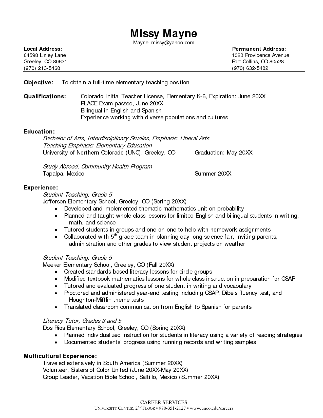 Resume Objective Statement Examples For Teachers