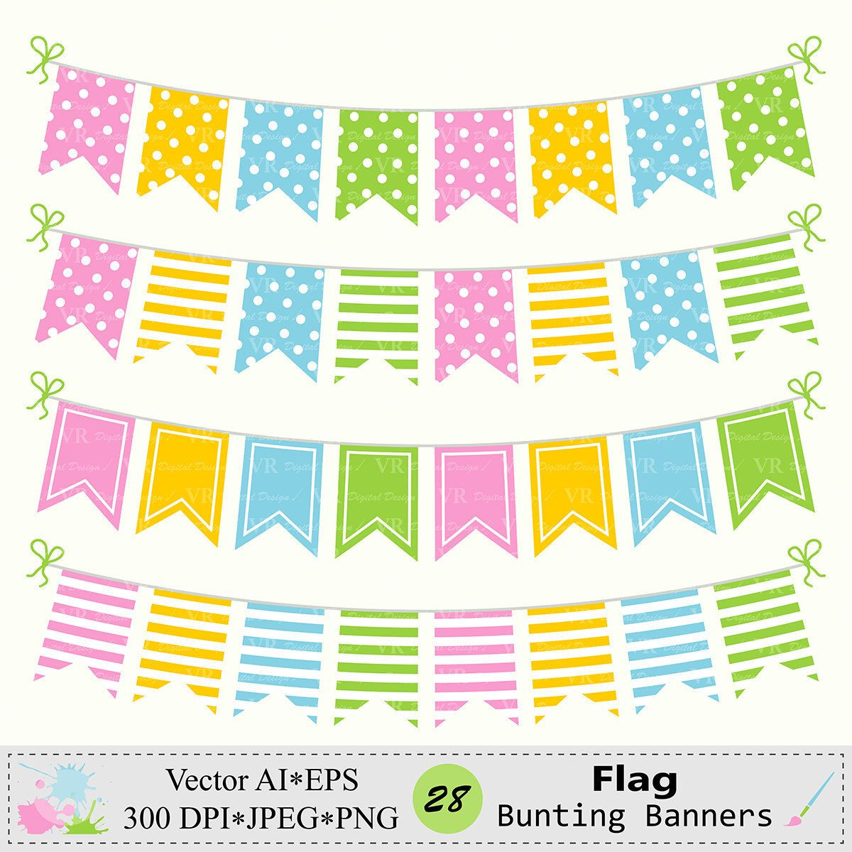 Flag Bunting Banners Clip Art Birthday Party Bunting Banners Etsy Banner Clip Art Bunting Banner Art Birthday Party