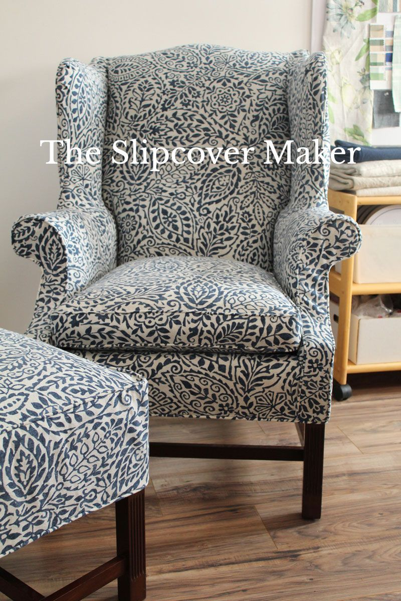 Custom fit slipcover in a cotton indigo print for Harden wingback chair and ottoman.