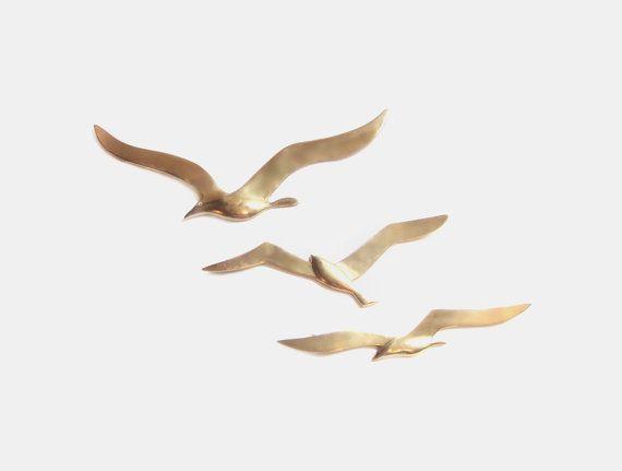 Brass Seagull Sculptures Metal Bird Wall Art Set Etsy Bird Wall Art Metal Birds Metal Bird Wall Art