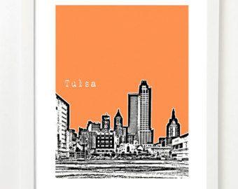 tulsa skyline poster – Etsy