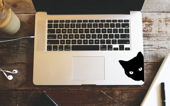 Zwarte kat sticker sticker van UrbanVinylStickers op Etsy