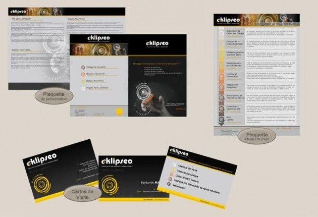 Supports de communication de la société Eklipseo. Réalisation dans le cadre d'un stage chez Pep's Multimédia.