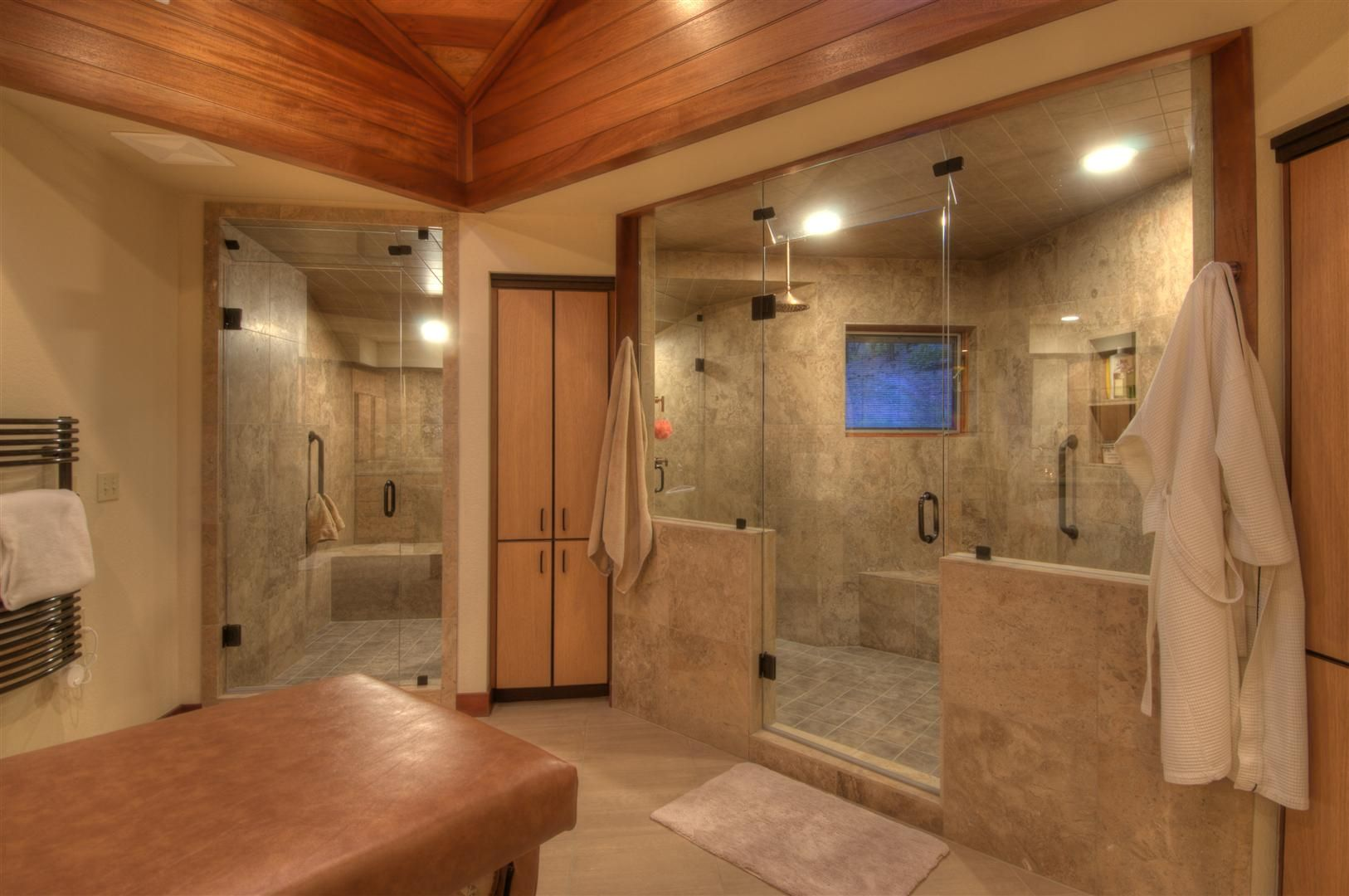 Personable Bright Brown Steam Shower Bathroom Design With Rectangular Door Glass Shower And Light Brown Marble Tiles And Russet Ceramic Wall Plus Brown Wood