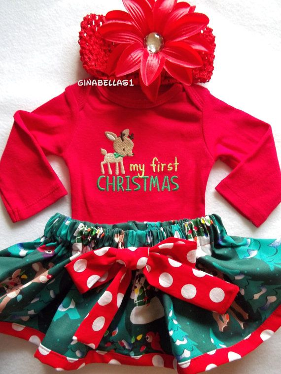 9da3ec933373 My First Christmas outfit baby girl onesie dress Santa Baby Rudolph  Reindeer Frosty snowman skirt newborn 3 6 9 months Red bow headband on  Etsy, $29.50