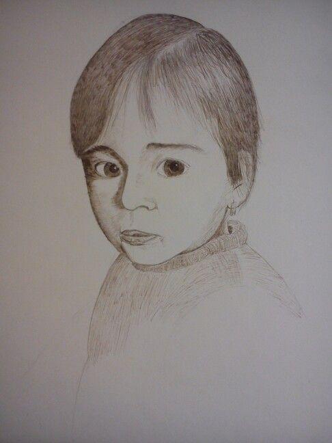 Retrato con tinta y plumilla sobre papel