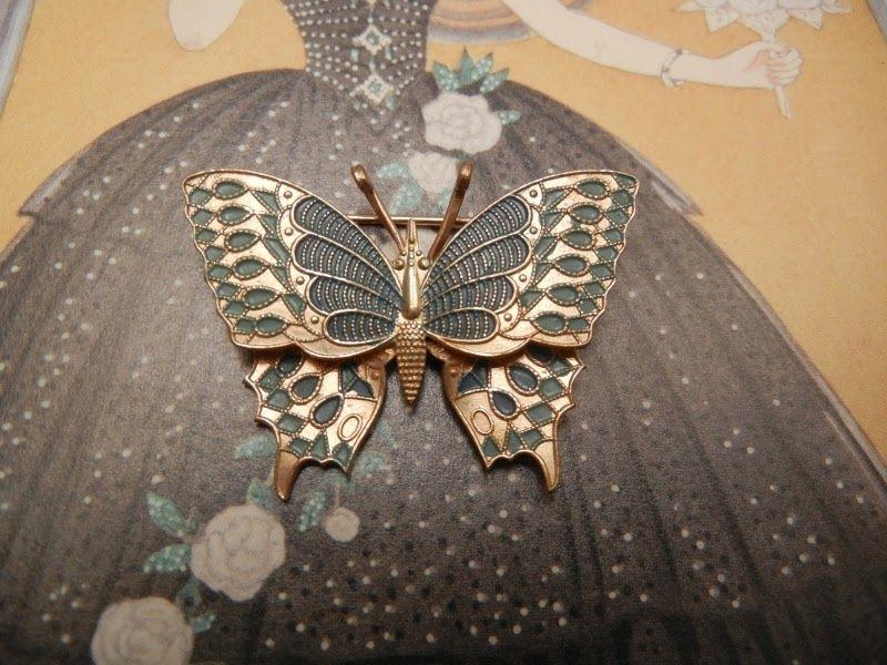 L'oiseau Acessórios Vintage: Broche Borboleta Vintage Anos 60